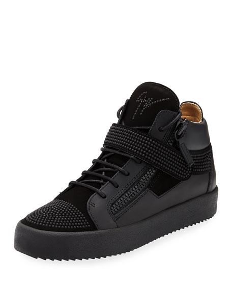 Giuseppe Zanotti Men's Double-Zip Studded Mid-Top Sneaker, Black