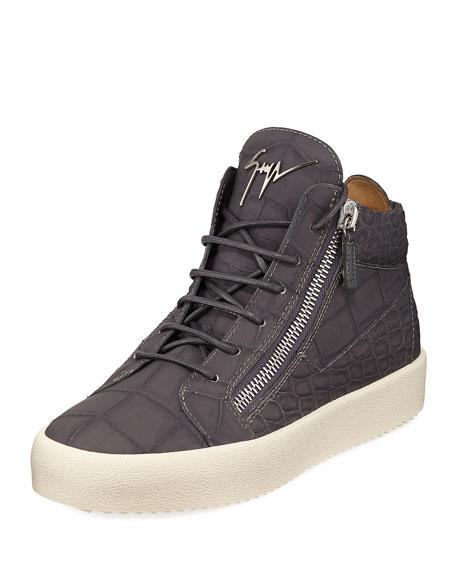 Giuseppe Zanotti Men's Embossed Leather Mid-Top Sneaker