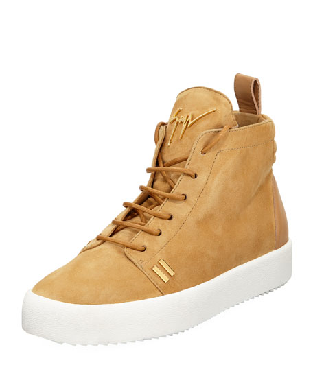 Men's Suede High-Top Platform Sneakers, Tan