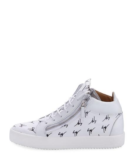 Men's Mid-Top Logo-Embossed Platform Sneaker, White/Black