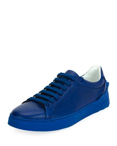 Men's Leather Low-Top Sneaker, Blue