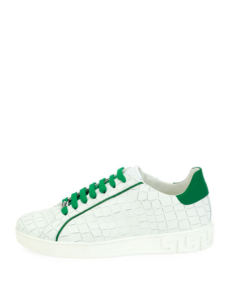 Embossed Leather Low-Top Sneaker