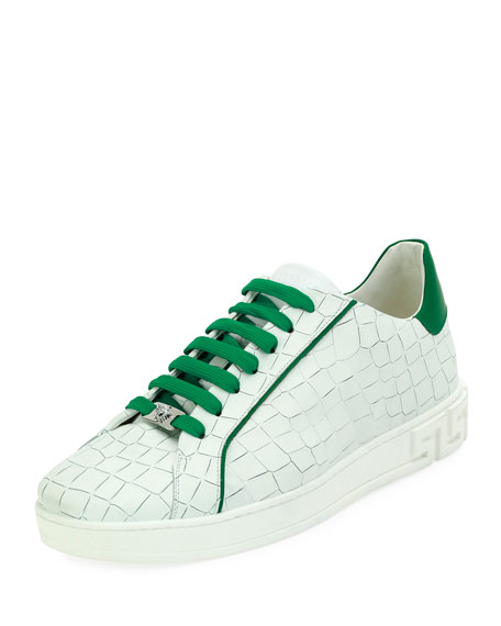 Versace Embossed Leather Low-Top Sneaker