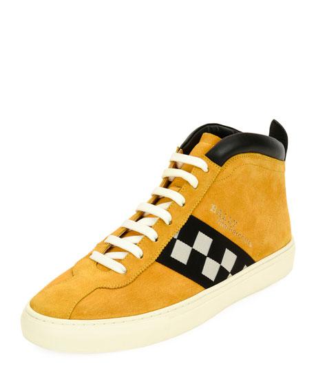 Bally Men's Vita Retro High-Top Sneakers, Yellow