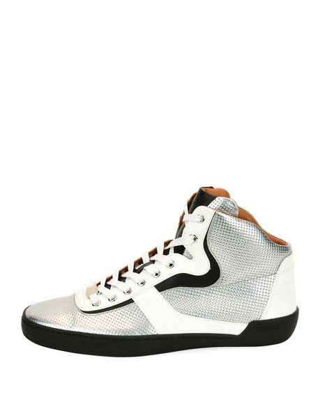 Men's Eroy Embossed Leather High-Top Sneakers, Silver