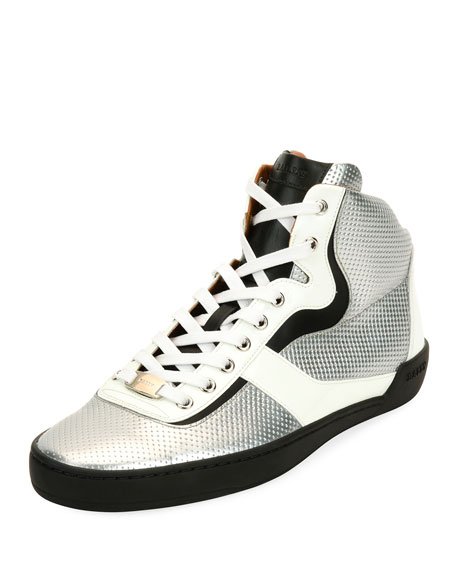 Bally Eroy Embossed Leather High-Top Sneaker, Silver