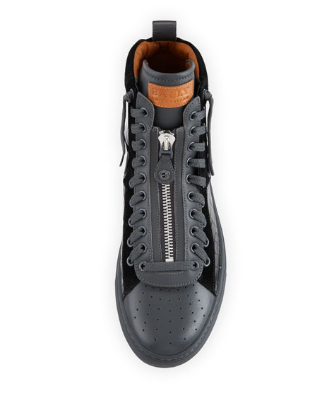 Hekem Croc-Embossed Leather High-Top Sneaker