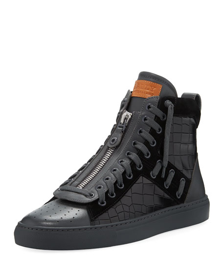 Bally Hekem Croc-Embossed Leather High-Top Sneaker