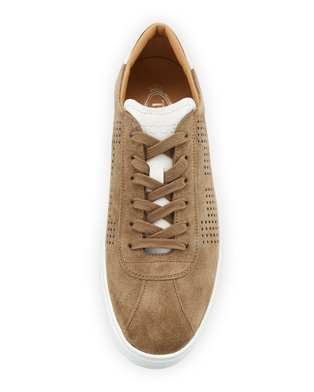Men's Perforated Suede Low-Top Sneakers