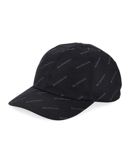 Balenciaga Logo Baseball Cap, Black