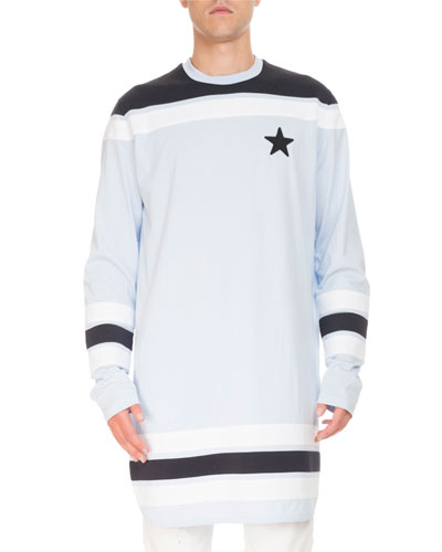 Contrast-Detail Long-Sleeve Baseball T-Shirt