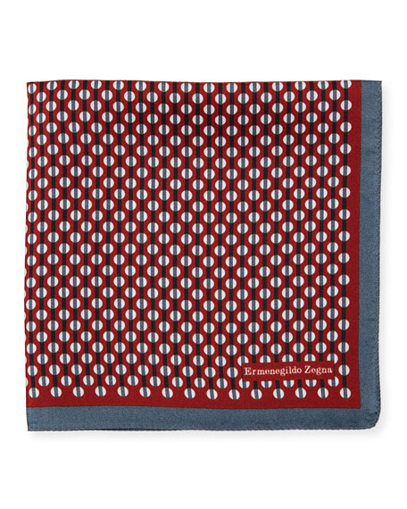 Circular-Pattern Silk Pocket Square