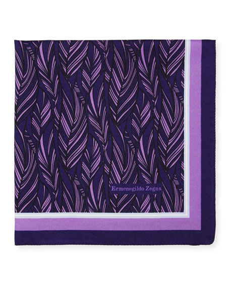 Ermenegildo Zegna Tonal Leaves Silk Pocket Square