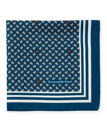 Ermenegildo Zegna Small Leaves Silk Pocket Square