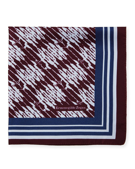 Ermenegildo Zegna Grafiato Bordered Silk Pocket Square