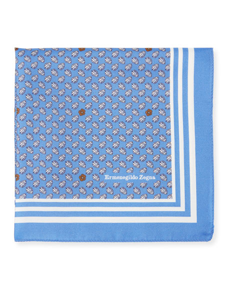 Ermenegildo Zegna Small Leaves Silk Pocket Square, Blue