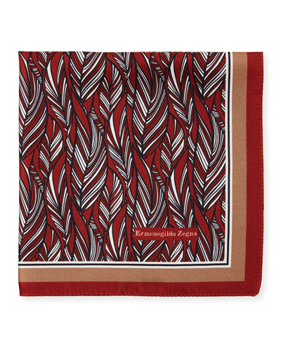 Tonal Leaves Silk Pocket Square, Red