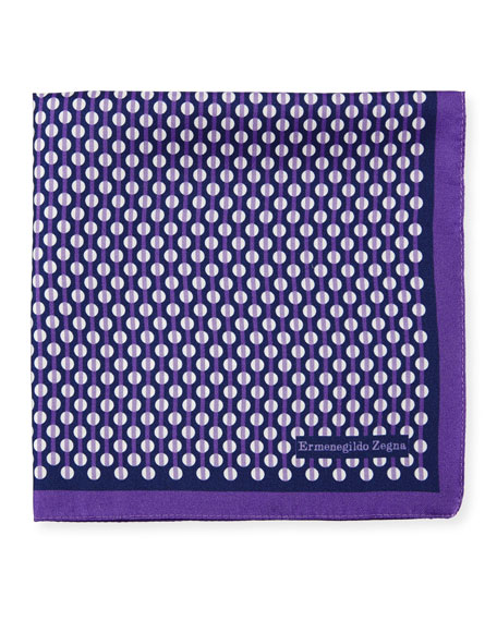 Ermenegildo Zegna Circular Pattern Silk Pocket Square, Purple