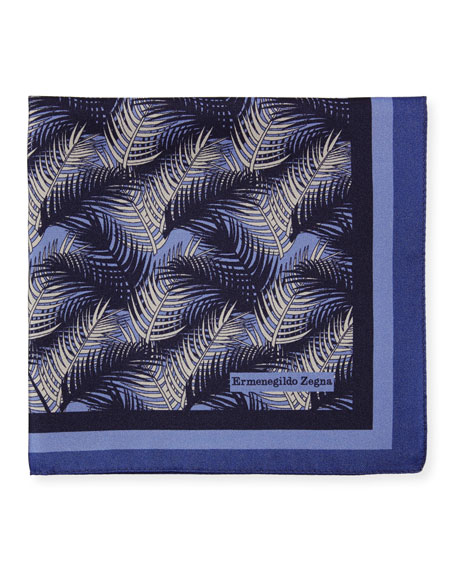 Ermenegildo Zegna Palm Leaves Silk Pocket Square, Blue