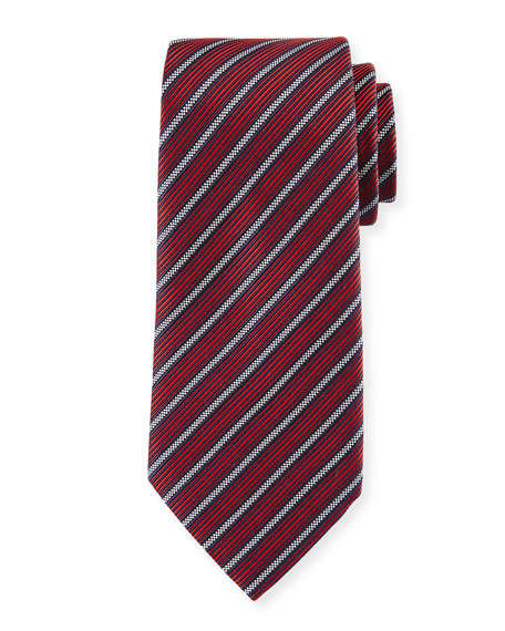 Ermenegildo Zegna Multi-Stripe Silk Tie, Red