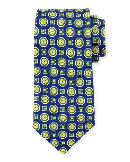 Kiton Medallion-Print Silk Tie, Navy/Green