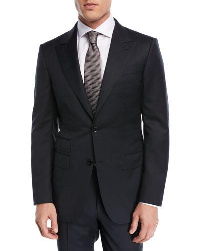 Tonal Plaid Two-Piece Suit  Black