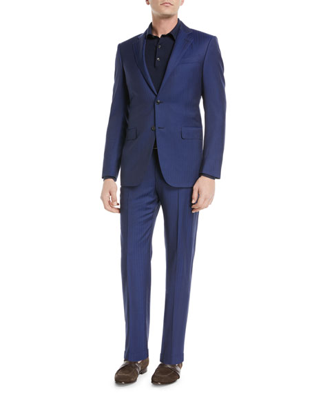 Image 2 of 4: Herringbone Two-Piece Wool Suit