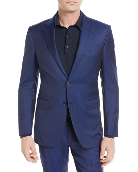 Image 1 of 4: Herringbone Two-Piece Wool Suit
