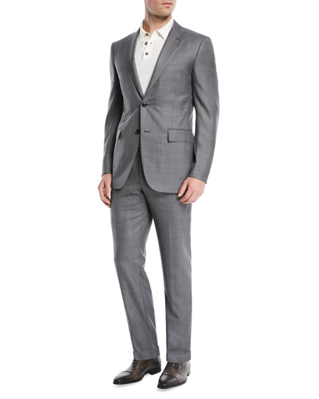 Image 2 of 4: Light Plaid Wool-Blend Two-Piece Suit
