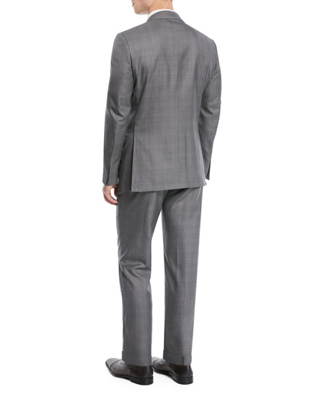 Image 3 of 4: Light Plaid Wool-Blend Two-Piece Suit