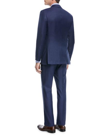 Kiton Sharkskin Wool Two-Piece Three-Button Suit
