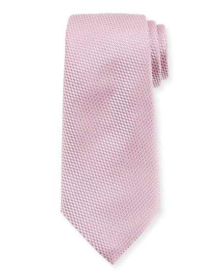 Ermenegildo Zegna Tonal Check Silk Tie, Pink