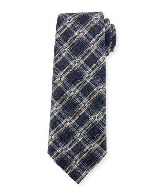 5e15016673cf6 Ermenegildo Zegna Seasonal Plaid Silk-Linen Tie