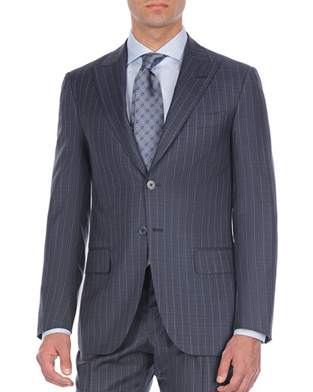 Pinstriped Two-Piece Wool Suit