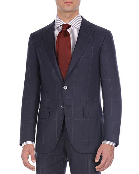 Windowpane Two-Piece Wool Suit