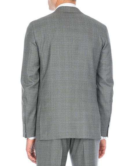 Double-Windowpane Two-Piece Wool Suit, Gray