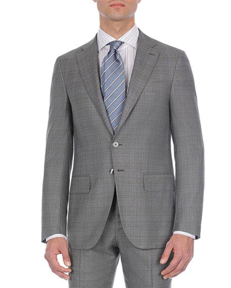 Double-Windowpane Two-Piece Wool Suit, Gray