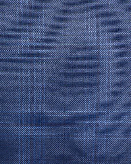 Plaid Two-Piece Wool-Blend Suit, Blue