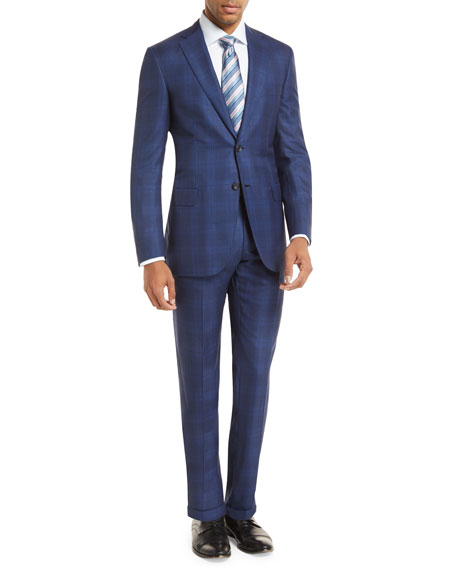 Plaid Two-Piece Wool-Blend Suit, Blue