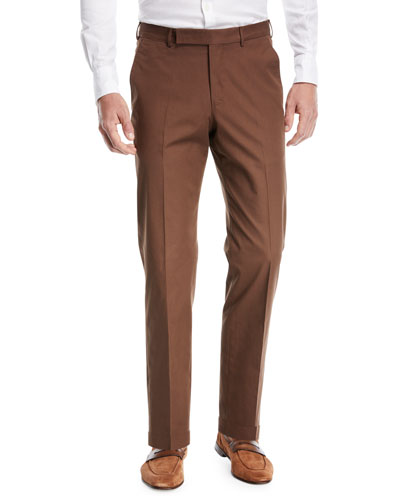 Cotton Flat-Front Trousers