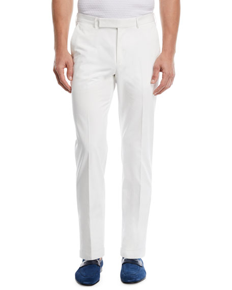 Ermenegildo Zegna Cotton Twill Flat-Front Trousers