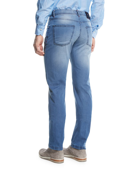 Image 2 of 3: Light-Wash Denim Straight-Leg Jeans