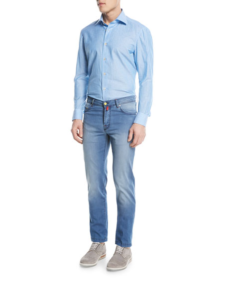 Image 3 of 3: Light-Wash Denim Straight-Leg Jeans