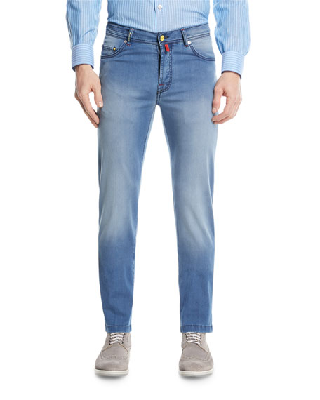 Image 1 of 3: Light-Wash Denim Straight-Leg Jeans