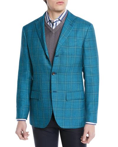 Cashmere/Silk Plaid Three-Button Sport Coat