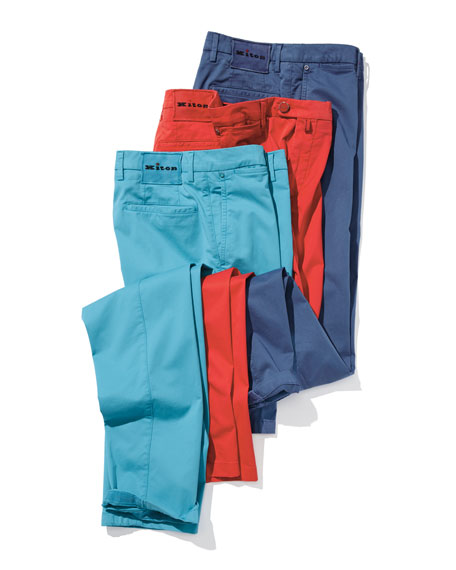 Kiton Washed Twill Straight-Leg Pants