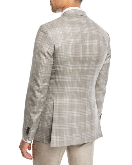 Plaid Cashmere-Blend Blazer, Camel/Gray