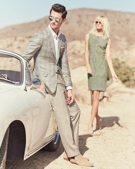 Brioni Plaid Cashmere-Blend Blazer, Camel/Gray