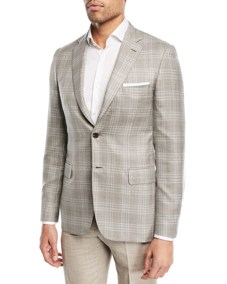 Brioni Plaid Cashmere-Blend Blazer, Camel/Gray