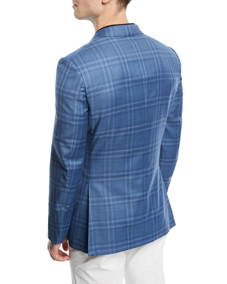 Ermenegildo Zegna Plaid Wool-Silk Sport Coat